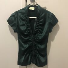 Review Australia Green Satin Corset Blouse Top Size 8