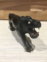 Vintage African Hand Carved Lion Ebony Wood Bone Teeth And Claw - See Images