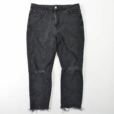 Topshop Moto Distressed Denim Gray Jeans High Waist Capri Womens 16 34