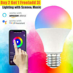 Smart LED Light Bulb 15W E26 E27 Multi-Color Dimmable For Alexa/Google Home