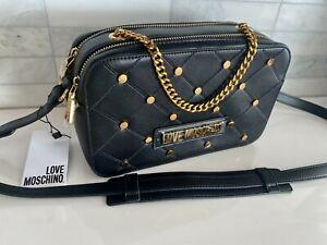 NWT LOVE Moschino Borsa Matt Nero PU Black Crossbody Golden