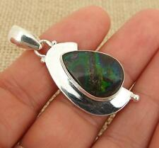 Blue Green Ammolite 925 Silver Pendant Indian Jewellery