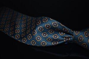 LNWOT Vintage Brooks Brothers USA Teal Foulard Silk Ochre Neat Medallion Tie NR