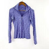 Columbia Womens Sz Small Cotton Space Dyed Shirt 1/4 Zip Jacket Purple S