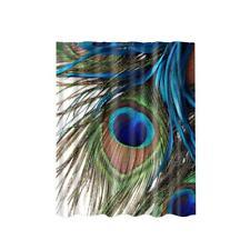 Bath Shower Sheer Waterproof Polyester Curtain Panel w/12 Hook Peacock #1