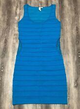 Tricot Joli Sky Blue Mesh Sides Bandage Bodycon Party Club Cocktail Sexy Dress M