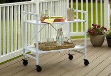 Serving Cart With Wheels White Metal Folding Utility Table With Storage Shelf