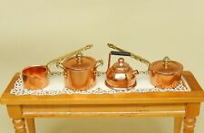 Vintage Kitchen Copper Teapot Pots & Pans Lot Dollhouse Miniature 1:12