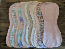 Girl Flannel Burp Cloths Contoured Soft Double Layer Mix Or Match Handmade