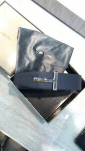TOM FORD T Reversible NAVY BLUE / BLACK ICON Belt SILVER Buckle sz 105 / 42