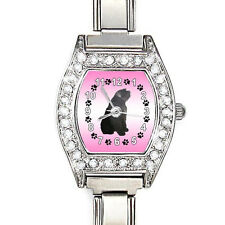 Bouvier Des Flandres Dog Cz Ladies Stainless Steel Italian Charms Watch Bj1069