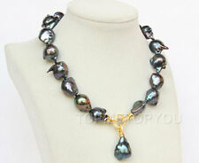 """17"""" 20mm Baroque black Reborn keshi pearls necklace filled gold clasp E2613"""