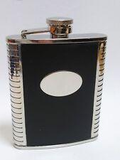 Flasque à whisky cuir noir/CHROME 6oz - NEUF - 725604