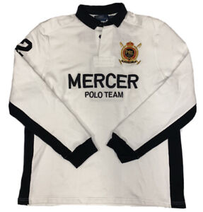 Ralph Lauren Polo Team Mercer Club Men's White And Black Custom Fit Rugby Sz XL