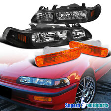 For 1990-1991 Acura Integra Black Headlights+Bumper Turn Signal Lamps