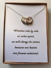 Sterling silver plated Three Hearts necklace With poem for Sister