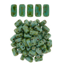 50 CzechMates Bricks Persian Turquoise Picasso Two Hole Beads 3x6mm