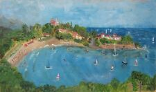 Vintage French Naive Oil Painting, Seascape, Beach Town, Swimmers, Sailing Boats