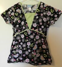 Uniform Destination Womens Black Floral Scrub Top Size XS
