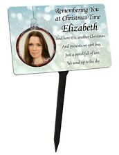 Personalised Christmas Memorial Plaque & Stake Your Photo. family garden grave