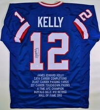 JIM KELLY SIGNED/AUTOGRAPHED BILLS CUSTOM BLUE STAT JERSEY JSA W AUTHENTICATED