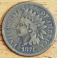 1874 Indian Head One Cent 1c VG Check It Out!!! KM# 90a #AA004