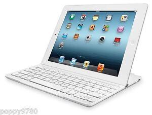 Logitech Magnetic Clip On Ultrathin Bluetooth Keyboard iPad Mini, Mini 2,3 White