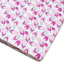 New Wendy Bellissimo So Soft Pink/Gray Feather Fitted Crib Sheet. Nip