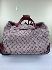 Ralph Lauren Logo Carry On Luggage Rolling Duffle Bag Red Canvas Leather Trim