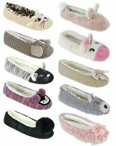 Womens Ladies Soft Comfy Sherpa/Faux Fur Lined Ballet Pumps Ballerina Slippers