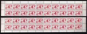 Canada 1977 Postage Due 4¢, MNH PB strips 40 stamps, end imprints, sc#J31a