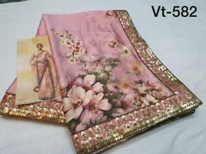 Pink Sequins Lace Border Saree Digital Floral Print Party Wedding Designer Sari