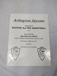 1987 Florida Miami Dolphins All-Pro Basketball exhibition program signed