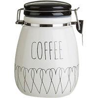 New Heartlines Tea Coffee Sugar Canisters Kitchen Storage Ceramic Jars Clip Top