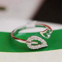 2PC Women Adjustable Gold Leaves Opening Cuff Ring Love Gift 3C