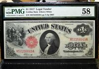 1917 $1 LEGAL TENDER NOTE ✪ PMG AU-58 ✪ FR-38m MULE CHOICE ABOUT UNC 49◢TRUSTED◣