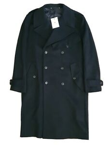 PAUL SMITH COAT OVERCOAT CASHMERE WOOL M 42 BLACK DOUBLE BREASTED RRP £1599