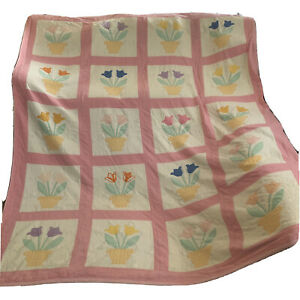 Vintage Potted Tulips Applique Quilt Handstitched 74 X 96 Inches