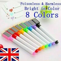 Magnetic Whiteboard marker pens builtin dry eraser easy wipe tip drawing UK POST