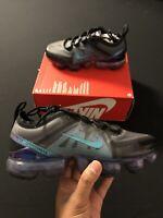 Nike Air VaporMax GS Throwback Future Black Grey Blue Women Sz 6.5, Youth Sz 5y