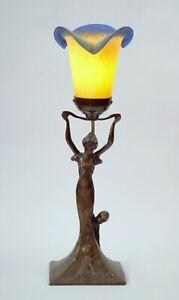 """Jugendstil Messinglampe """"MOTHER EARTH"""" Art Nouveau Tischlampe figürlich Grazie"""