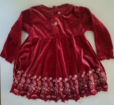Childrens Place Girls Baby Dress Red Velvet Floral Long Sleeve 18 Months Infant