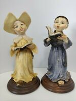 G. ARMANI Small Pair of Monk Singing Figurine Capodimonte Made In Italy