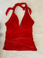 ATHLETA Red Halter Shirendippity Tankini TOP ONLY Size Small