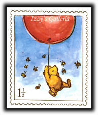 Vintage Classic Pooh Red Balloon Honey Bees Stamp Postage Stickers Michel & Co