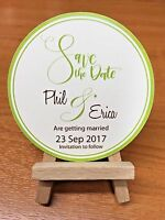 10 - 50 cards Personalised Magnetic round Wedding Save the Date and envelopes