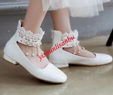Lace Round toe collegiate Metallic women princess party back zip shoes