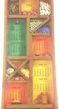 1976 Vintage Scroll Calendar Bank Promo Colorful Rustic Wood Box Beans Kitchen