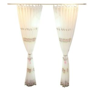Embroidery Window Curtain Floral Drape Panel Sheer Curtains Fit Home Living Room