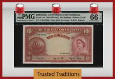 TT PK 14d 1936 BAHAMAS 10/ SHILLINGS QUEEN ELIZABETH II PMG 66 EPQ NONE FINER